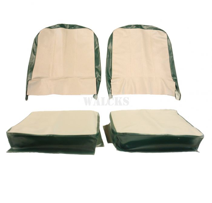 Seat Cover Assembly Left And Right Light Gray And Granada Green 1957-1964 CJ3B & 1955-1964 CJ5, CJ6