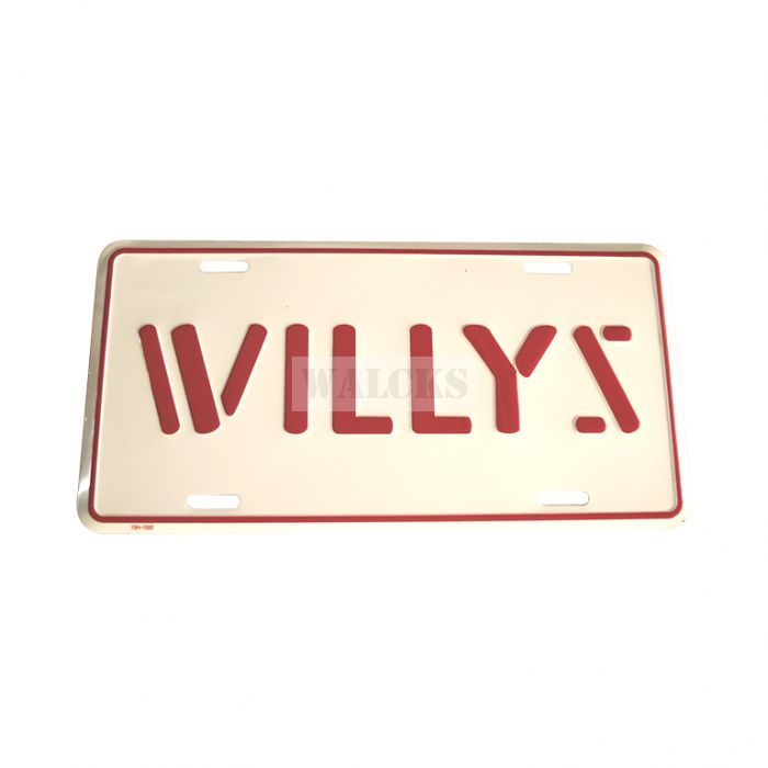 License Plate Stamped Willys Red Lettering