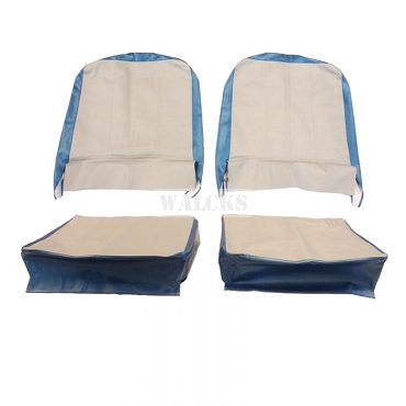 Seat Cover Assembly Left And Right Light Gray And Gulf Blue 1957-1964 CJ3B & 1955-1964 CJ5, CJ6 USA made
