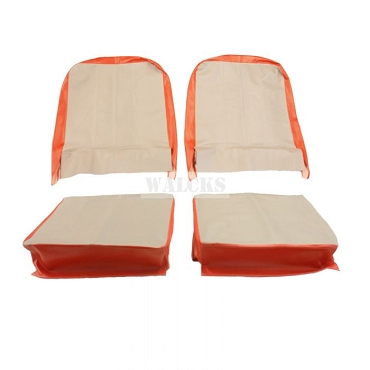Seat Cover Assembly Left And Right Light Gray And President Red 1957-1964 CJ3B & 1955-1964 CJ5, CJ6 USA made