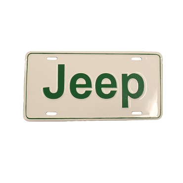 License Plate Stamped Jeep Green Lettering
