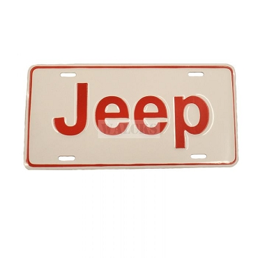 License Plate Stamped Jeep Red Lettering