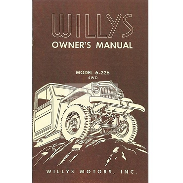 Owners Manual 1954-56 Pick Up Truck 6-226 Super Hurricane