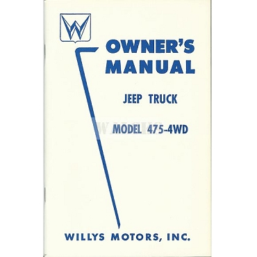Owners Manual 1950-56 4 Cylinder 4WD Pick Up Truck