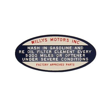 Oil Fill Cap Decal 6-226 Pick Up Truck, Station Wagon, Sedan Delivery, FC 170